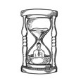 sand watch glass with man engraving vector image vector image