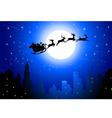 Santa sleigh on City in Christmas Night vector image vector image