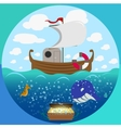 Sea theme circle set vector image vector image