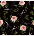 seamless pattern with roses and scissors vector image vector image