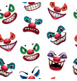 seamless pattern with scary clown faces on the vector image vector image