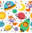 seamless pattern with space animals vector image vector image