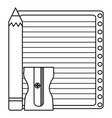 sheet notebook paper with pencil and sharpener vector image