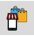 shopping bag and smartphone design vector image vector image