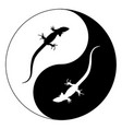 silhouette lizard yin yang isolated vector image