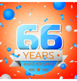Sixty six years anniversary celebration on orange vector image vector image