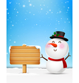 Snowman cartoon smile and blank wooden sign eps10 vector image vector image