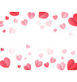 soft color folded paper hearts isolated on white vector image