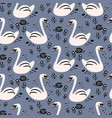 swan cute baby seamless pattern vector image