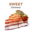sweet christmas cake with orange slices on top vector image vector image