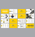 template yellow and white presentation slides vector image vector image
