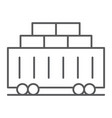 Train cargo thin line icon transport and