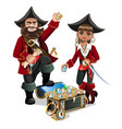 treasures chest and pirates vector image vector image