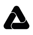 triangle icon with three overlapping sides vector image vector image