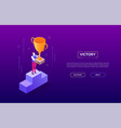 victory concept - modern isometric web vector image