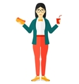 Woman with fast food vector image vector image