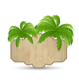 wooden advertising signboard with palms isolated vector image