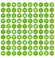 100 auto repair icons hexagon green vector image vector image