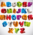 3D font bold colorful alphabet vector image vector image