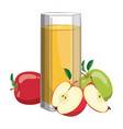 a glass fresh apple juice vitamin refreshing vector image vector image