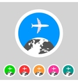 Airplane travel world globe tourism icon vector image vector image