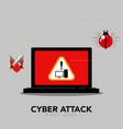 alert icon on a computer screen cyber attack vector image