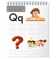 Alphabet tracing worksheet with letter q and q