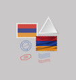 armenia flag postage stamp set isolated on gray vector image
