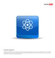 atom sign icon - 3d blue button vector image