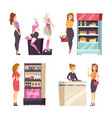beauty cosmetics products on shelves set vector image
