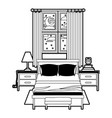 bedroom with window in the night landscape black vector image vector image