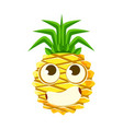 bewildered pineapple face with big eyes cute vector image vector image