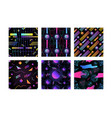 bundle of retro futuristic seamless pattern with vector image