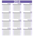 Calendar 2016 week starts from Sunday