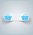 cart buy shop icon origami cut paper vector image