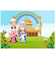 Cartoon happy Muslim family with rainbow vector image vector image