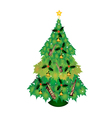 Christmas Tree of Green Maple Leaves with Ornament vector image
