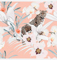colorful floral pattern with tiger leopard vector image