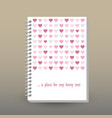 cover of diary or notebook pink hearts vector image vector image