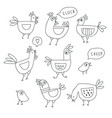 cute cartoon rooster chicken hen family outline vector image vector image