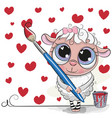 cute sheep with brush is drawing a hearts vector image