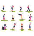golf players people playing golfers vector image vector image