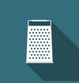 grater icon with long shadow kitchen symbol vector image vector image