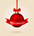greeting card with christmas ball vector image