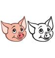 head of cartoon piglet vector image vector image
