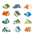hiking and camping tents icons vector image