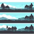 horizontal mountain forest banner vector image vector image
