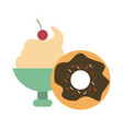 ice cream cup and donut vector image vector image