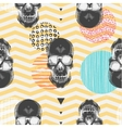 Kitschy seamless pattern with sugar skulls vector image
