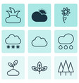 landscape icons set includes icons such as sprout vector image vector image